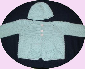 Green Baby Sweater Set