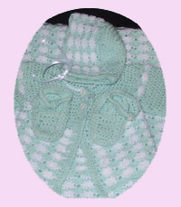 Green and White Baby Sweater Set